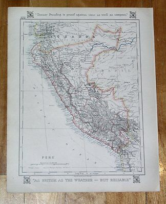 1921 Vintage Map Of Peru Venezuela French Guiana Guyana Suriname South America