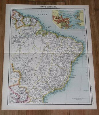 1903 Antique Map Of Brazil Rio De Janeiro Inset Map Guiana South America