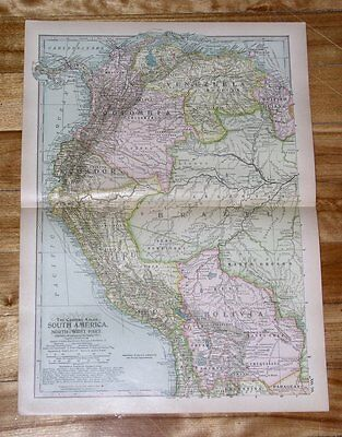 1914 Antique Dated Map Of Colombia Ecuador Peru Venezuela / South America