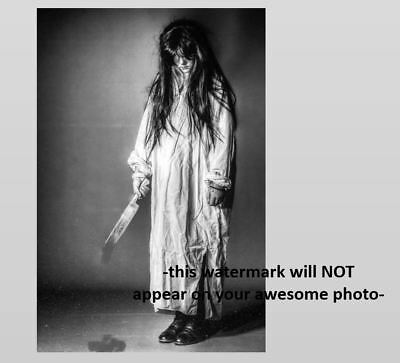 Vintage Creepy Girl Knife PHOTO Dripping Freak Scary Halloween Zombie Child Kid