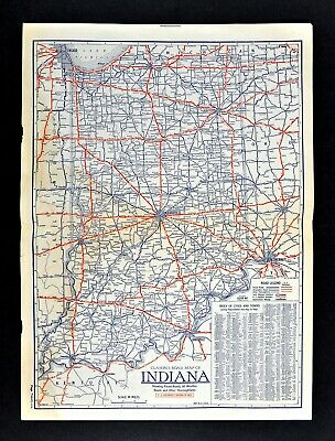 1930 Clason Road Map Indiana Indianapolis Evansville Fort Wayne South Bend Gary