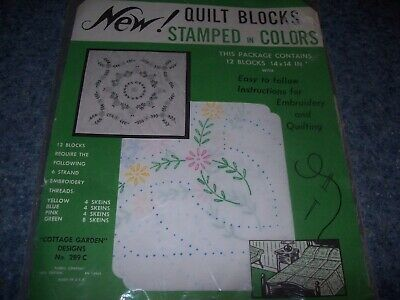 12 Quilt Blocks 14X14  embroidery or painting stamped in colors Cottage Garden