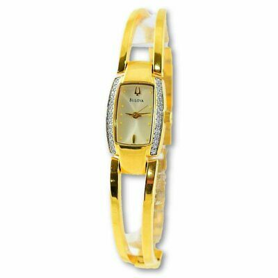 Bulova Women's Gold Tone Stainless Bangle Crystal Watch 98V24 $295