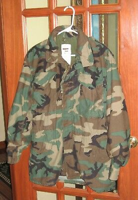 Vintage Military M-65 Field Jacket Cold Weather Coat Small Long Woodland Camo