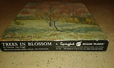 """Jigsaw puzzle Springbok années 70', """"Trees in Blossom"""", complet, 500+ pièces"""