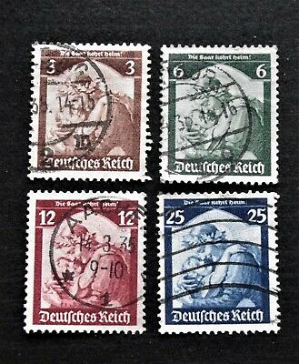 GERMANY- THIRD REICH 1935  SAAR Re-Annexation Full set of 4 - USED