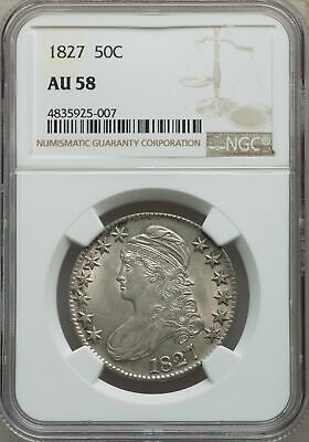 1827 US Silver 50C Capped Bust Half Dollar - Sq Base 2 - NGC AU58