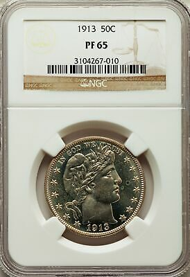 1913 US Silver 50C Barber Half Dollar Proof - NGC PF65