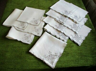 VINTAGE/ANTIQUE NAPKINS-MADEIRA HAND EMBROIDERY-COL.x 12