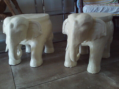 Vintage Mid Century Pair of Solid Teak Trunk Elephant Plant Stands Stools