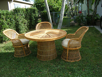 Vintage Mid Century Bohemian Wicker Dinning Patio Set Table With 3 Chairs