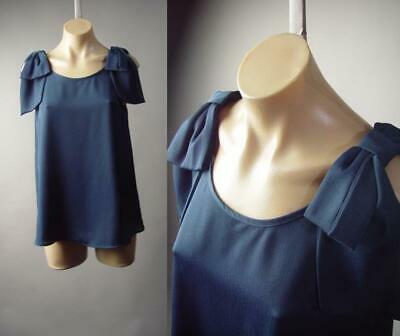 Navy Blue French Nautical Mod 60s Party Ribbon Bow Cami Top 296 mvp Blouse S M L