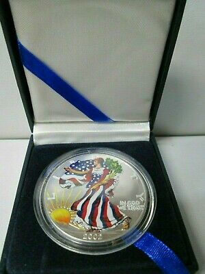 2002 Colored Painted American Eagle 1 Ounce Silver Dollar with Box