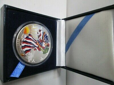 2001 Colored Painted American Eagle 1 Ounce Silver Dollar with Box