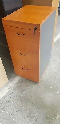 3 draw lockable timber filing cabinet beech/ironstone