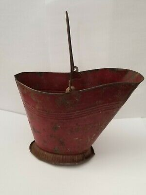 Antique Salesman Sample Child's Miniature Toy Red Painted Tin Coal Bucket Hod