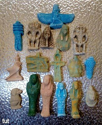 Ancient Egyptian Antiques Rare 17 Amulets Egypt Faience Stone 1816 BC