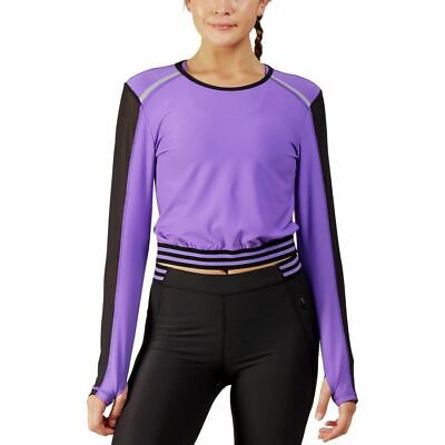 WOMEN Mesh WORKOUT Sports FITNESS Yoga ATHLETIC Stretch RUNNING Gym SHIRT Top sz