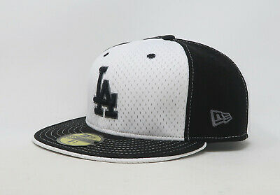 New Era 59Fifty Hat Mens MLB Los Angeles Dodgers Black White Jersey Fitted Cap