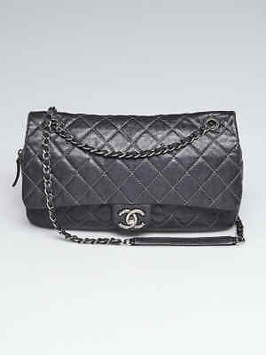 5a89268494b1a2 CHANEL DARK SILVER Quilted Caviar Leather Easy Jumbo Flap Bag ...