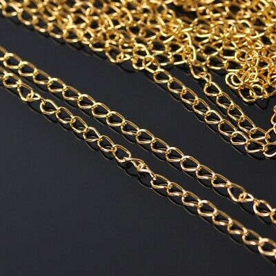3.2mm Wide 5m Long Gold Colour Metal Jewelry Making Extension Open Link Chains