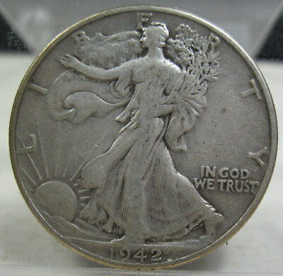1942 silver Walking Liberty Half Dollar coin grades fine (#1022h)