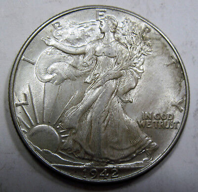 Choice Brilliant Uncirculated 1942  silver WALKING LIBERTY HALF! (#84m)