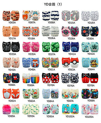 U Choose ALVA Cloth Diapers Positional Print Reusable Washable Pocket  + Insert