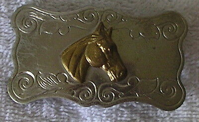 Vintage Nickel Silver Small Belt Buckle with Horse Head USA