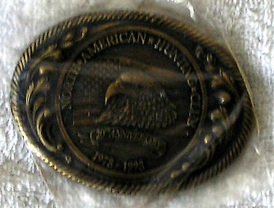 Vintage North American Hunting Club 20th Anniversary brass Belt Buckle eagle