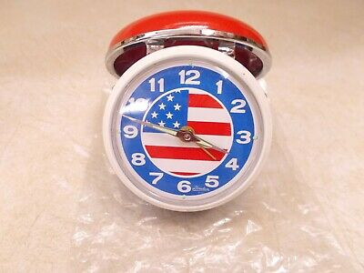 Linden Travel Alarm Clock With Stars & Stripes, Red And Blue Covers