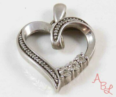 Sterling Silver Vintage 925 Heart Diamond Accent Pendant (3.3g) - 751405