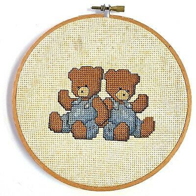 Cross Stitch Teddy Bears Framed Finished Completed Embroidery Ring Needlepoint