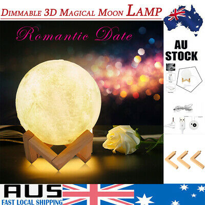 Dimmable 3D Magical Moon Lamp USB LED Night Light Moonlight Touch Sensor Gift