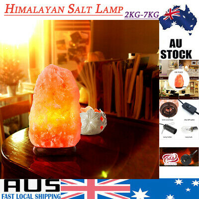 Himalayan Salt Lamp Natural Crystal Rock Shape Night Light 2-7 kg Dimmer Switch