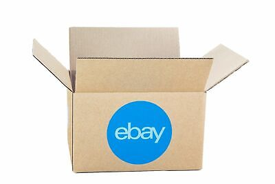 """25 eBay Branded Boxes with Blue 2 Color Logo Measures  8"""" x 6"""" x 4"""" RIGHT HERE!"""