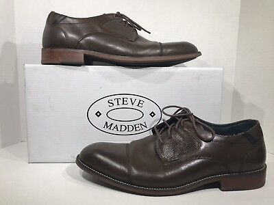 a134792137c STEVE MADDEN MEN'S Bisson Black Leather Oxford Dress Shoes Size 10 ...