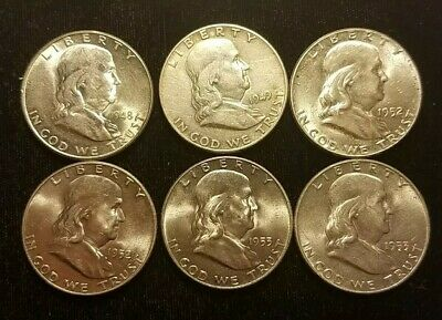 1948-D, 1949, 1952-PD, 1953-D Franklin Half Dollar LOT OF SIX EARLY SILVER COINS