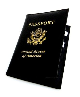 Black USA Passport Leather Cover Travel Document Holder Organizer Wallet New