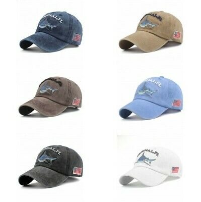 d879be354 Washed Cotton Men Women Baseball Cap Fitted Embroidery Letter Shark Vintage  Hat