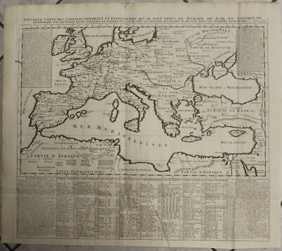 Europe Mediterranean Middle East North Africa 1720 Chatelain Large Antique Map