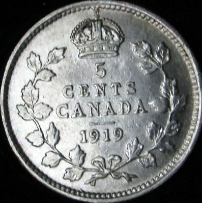 1919 VF+++ (XF-) Details Cleaned Canada Silver 5 Cents - KM# 22
