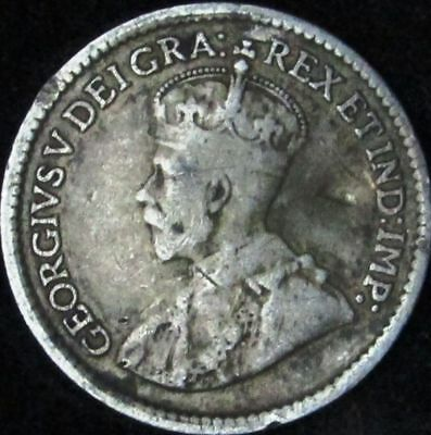 1919 VG+ Details Damaged Canada Silver 5 Cents - KM# 22