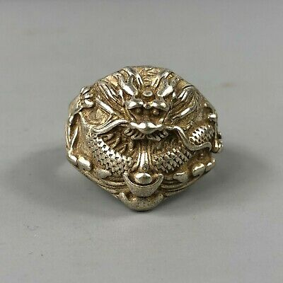 Chinese Old Antique Tibet Silver Handwork Collectible No.9.5 Dragon Amulet Ring