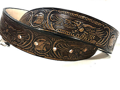 Leather Belt American Eagle Design Handmade Cocoa Color Choose Your Size