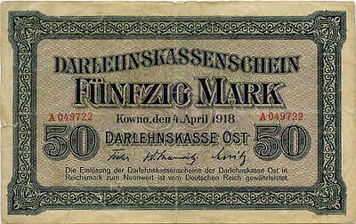 Germany 50 Mark 1918 Kowno  East countries occupation WWI A049722
