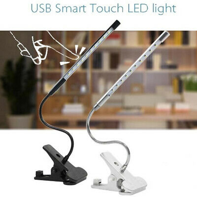 Dimmable Flexible USB Clip-On Desk LED Table Reading Book Studying Lamp Light