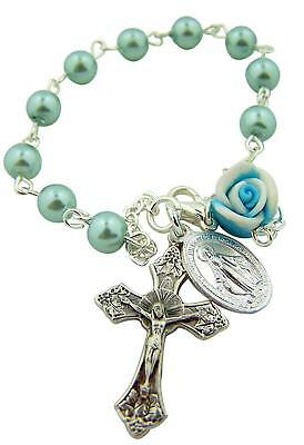 Blue Bead Rosary Bracelet with Rosebud and Miraculous Medal Charm, 7 1/2 Inch