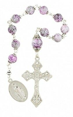 Pink Marble Capped Prayer Bead Hand Held Pocket Rosary with Miraculous Medal