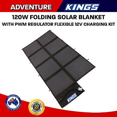 Kings 120W Solar Blanket 12v Folding Panel Kit Black Silicon Boat Mono Camping